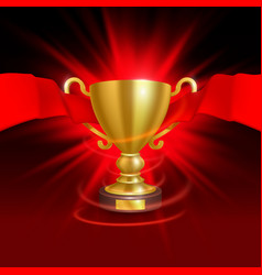 the leader of the cup with a red ribbon vector image
