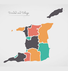 Trinidad and tobago map with states and modern vector