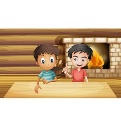 Two friends inside the house with a fireplace vector