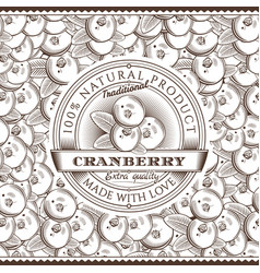 vintage cranberry label on seamless pattern vector image