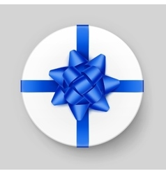 White Round Gift Box with Blue Bow and Ribbon vector