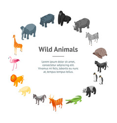 wild animals 3d banner card circle isometric view vector image