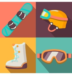 Winter sport flat icons collection vector