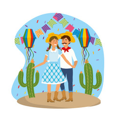 Woman and man with party banner and lanterns vector