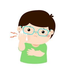 Xalittle boy having toothache cartoon vector
