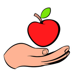 a hand giving a red apple icon icon cartoon vector image vector image