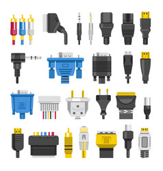 cable ports jacks different digital outputs vector image