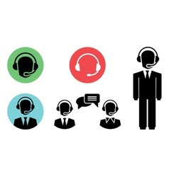 call center icons vector image vector image