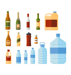 different bottles and water containers vector image
