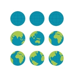 Flate globe icons set signs isolated on vector image vector image