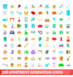 100 apartment renovation icons set cartoon style vector
