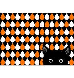 Black Cat Orange White Drops Background vector image vector image