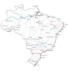 Brazil Black White Map vector image