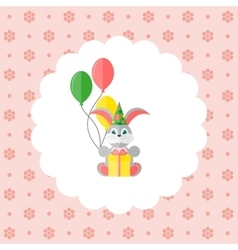 Bunny in cap with balloons and gift vector image vector image