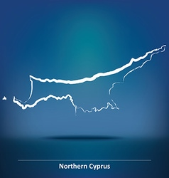 Doodle map of northern cyprus vector
