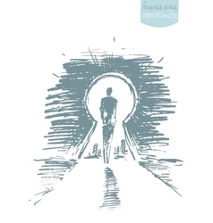 Drawn man standing open keyhole sketch vector image vector image