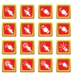 hand click icons set red square vector image