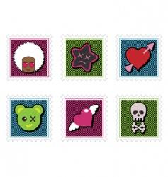 kids emo stamps vector image