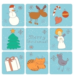 Merry Christmas Happy companions vector image vector image