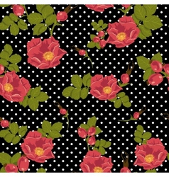 Seamless floral ornament with wild rose vector image