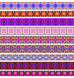 set of ornamental strips of colored geometric vector image vector image