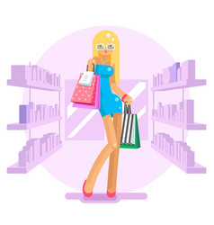 shopping bag package girl in shop shelves goods vector image vector image