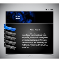 website template in black and blue colors vector image