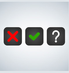 question red x and green tick check marks vector image