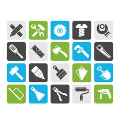 Silhouette Construction tools object icons vector image vector image