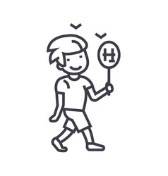 boy walking with candy line icon sign vector image vector image