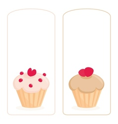 Cupcake on white invitation card vector image vector image