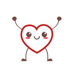 Kawaii heart healthy icon vector