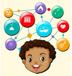 Little boy and science symbols vector image vector image