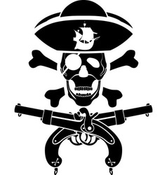 pirate symbol with pistols and skull vector image