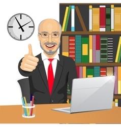 senior businessman making thumbs up hand sign vector image vector image