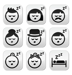 Sleeping dreaming people faces buttons set vector image vector image