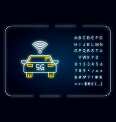 5g smart car neon light icon self-driving vehicle vector