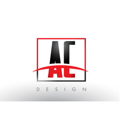 Ac a c logo letters with red and black colors vector