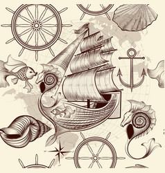 Antique pattern with ship shells and map vector