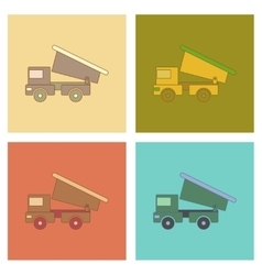 Assembly flat icons Kids toy truck vector