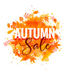 Autumn sake poster design with fall leaves vector