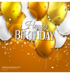 Birthday card with balloons and birthday text on vector image