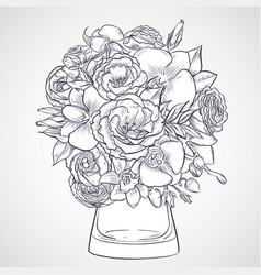 Bouquet of lisianthus and orchid flowers vector
