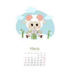 Calendar 2018 months march with sheep vector