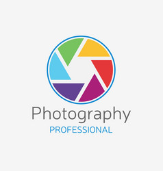Camera professional logo color shutter vector