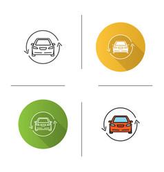 Car with circle arrow icon vector