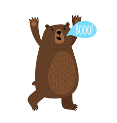 Cartoon bear with booo speak bubble vector