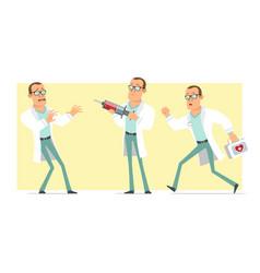 cartoon flat funny strong doctor man character set vector image