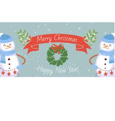 cartoon snowmen with mistletoe wreath for vector image