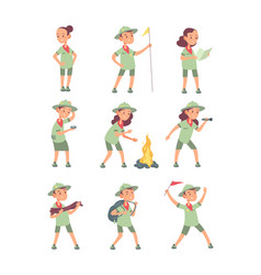 children scouts cartoon kids in scout uniform in vector image